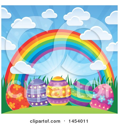 Clipart of a Sunny Sky with Clouds and a Rainbow over Decorated Easter Eggs - Royalty Free Vector Illustration by visekart