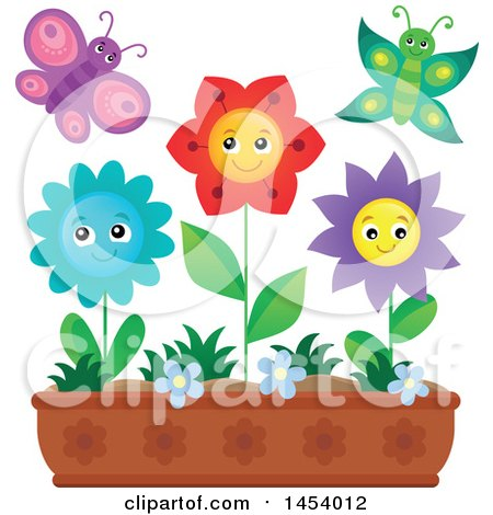 Clipart of a Planter Box with Happy Flowers and Butterflies - Royalty Free Vector Illustration by visekart