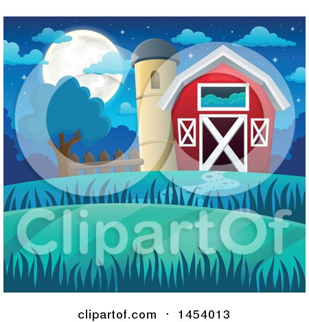 Clipart of a Red Barn and Silo at Night - Royalty Free Vector Illustration by visekart