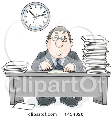 Clipart of a Cartoon White Business Man Working at His Desk, with Stacks of Paperwork - Royalty Free Vector Illustration by Alex Bannykh