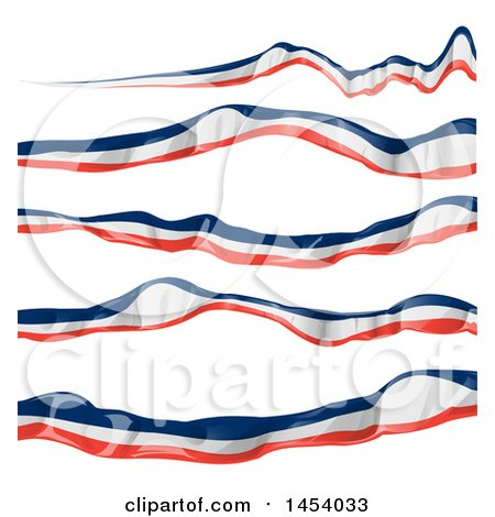 Clipart of French Ribbon Flag Banner Design Elements - Royalty Free Vector Illustration by Domenico Condello