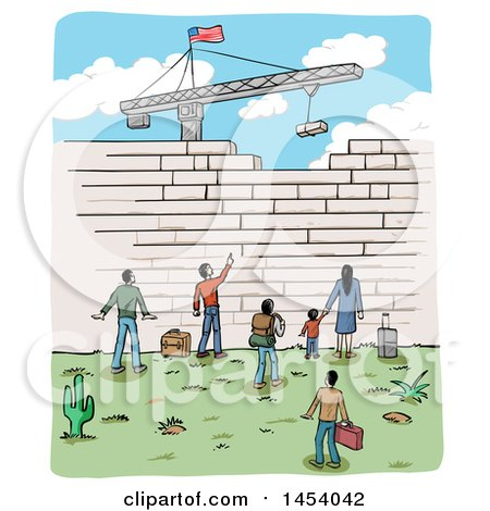 Clipart of a Sketch of People at a Border Wall Being Built by a Crane, with an American Flag - Royalty Free Vector Illustration by Domenico Condello