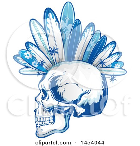 Clipart of a Profiled Punk Surfer Skull with Boards and Palm Trees Forming a Mohawk in Blue Tones - Royalty Free Vector Illustration by Domenico Condello