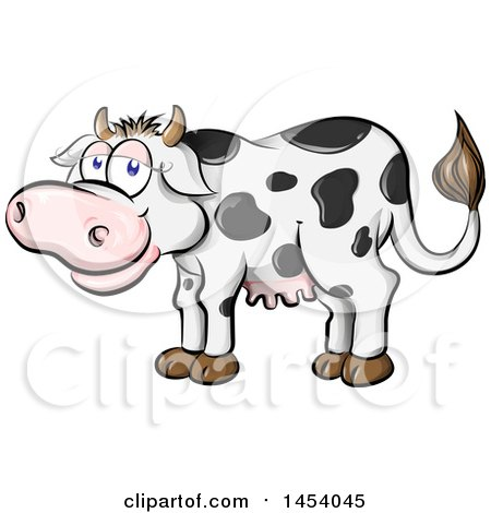 Clipart of a Cartoon Happy Black and White Holstein Dairy Cow - Royalty Free Vector Illustration by Domenico Condello