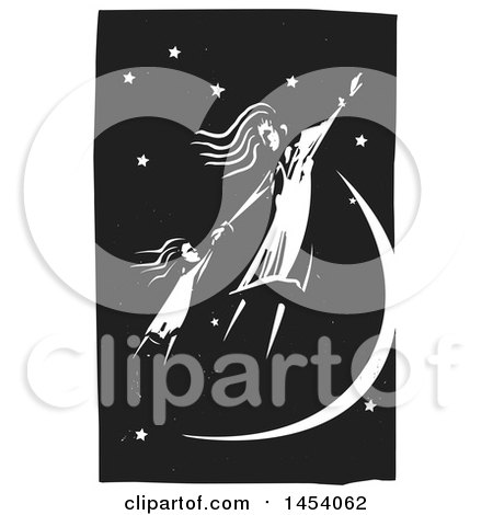 Clipart of a Black and White Woodcut Woman and Girl Holding Hands and Flying in a Night Sky - Royalty Free Vector Illustration by xunantunich