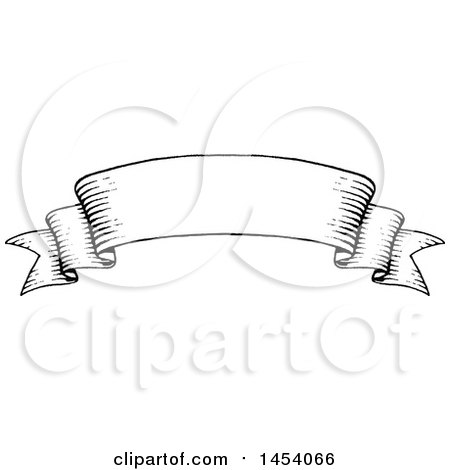 Clipart of a Black and White Sketched Parchment Ribbon Banner - Royalty Free Vector Illustration by cidepix