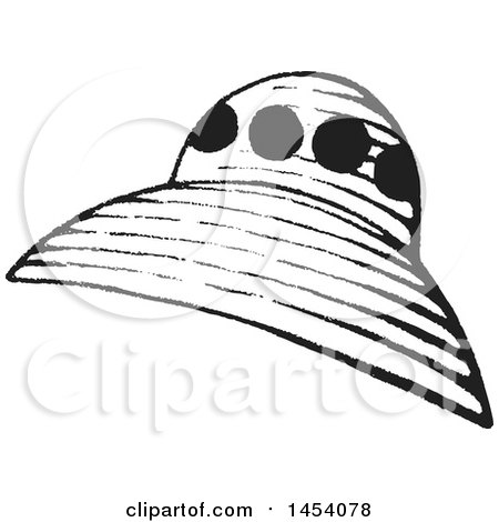 Clipart Of A Black And White Sketched Ufo