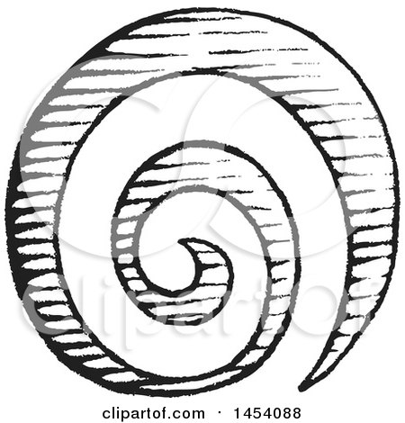 Clipart Of A Black And White Sketched Spiral Galaxy