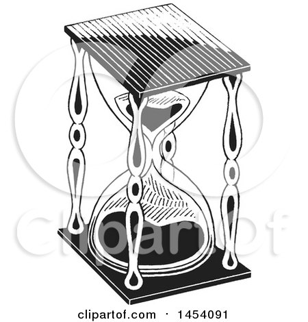 Clipart of a Black and White Sketched Hourglass - Royalty Free Vector Illustration by cidepix