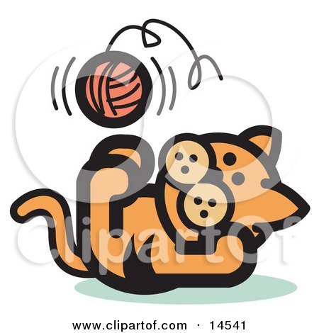 Cute Ginger Kitten Lying on His Back and Throwing a Ball of Yarn up in the Air While Playing Clipart Illustration by Andy Nortnik