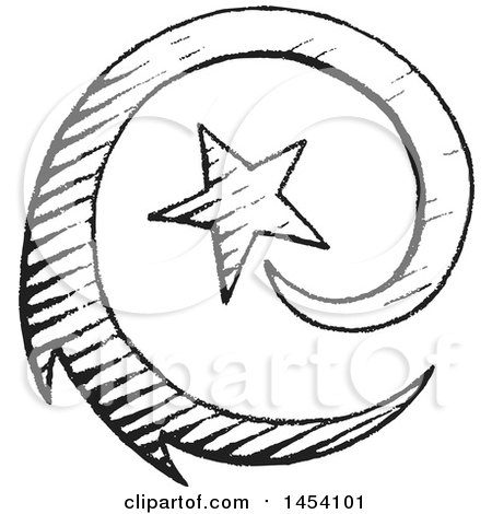 Clipart of a Black and White Sketched Spiraling Shooting Star - Royalty Free Vector Illustration by cidepix