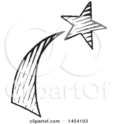 Clipart of a Black and White Sketched Shooting Star - Royalty Free Vector Illustration by cidepix