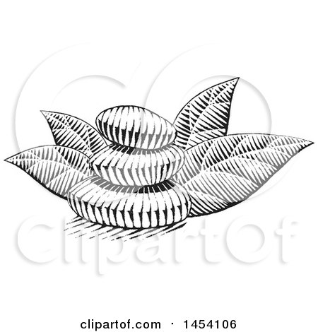 Clipart of a Black and White Sketched Stack of Spa Stones and Leaves - Royalty Free Vector Illustration by cidepix