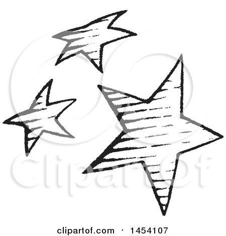 Clipart Of A Black And White Sketched Group Of Stars