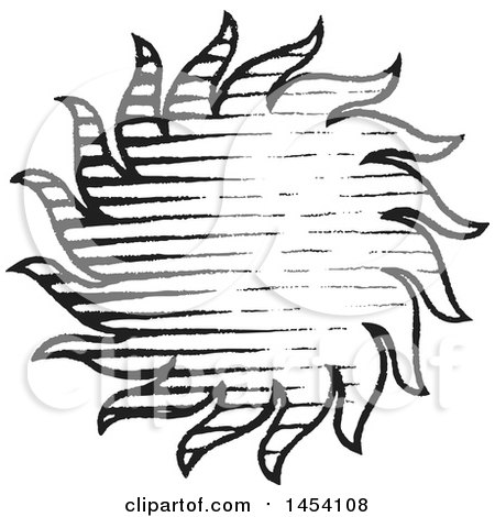 Clipart of a Black and White Sketched Sun - Royalty Free Vector Illustration by cidepix