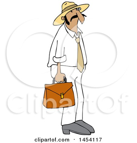 Clipart of a Cartoon Hispanic Sales Man Carrying a Case - Royalty Free Vector Illustration by djart