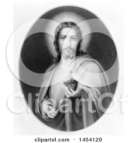 Black and White Illustration of Christ Holding His Heart in His Hand, The Sacred Heart of Jesus by JVPD