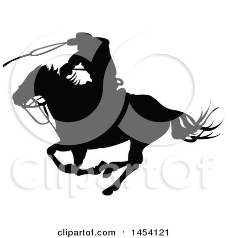 Clipart Graphic of a Black Silhouetted Horseback Rancher Cowboy Swinging a Lasso - Royalty Free Vector Illustration by Pushkin