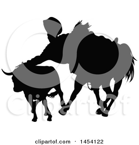 Clipart Graphic of a Black Silhouetted Horseback Cowboy or Picador and Bull - Royalty Free Vector Illustration by Pushkin