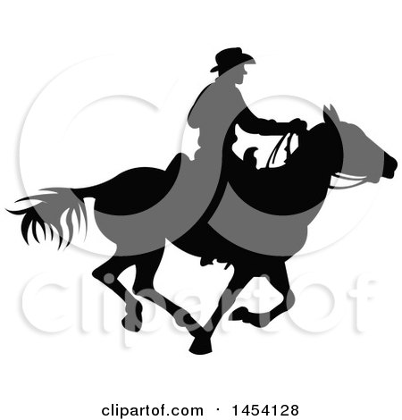 Black Silhouetted Horseback Cowboy Posters, Art Prints