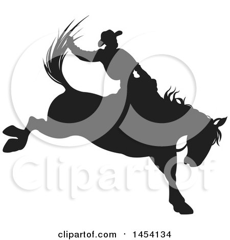 Clipart Graphic of a Black Silhouetted Horseback Rodeo Cowboy on a Bucking Bronco - Royalty Free Vector Illustration by Pushkin