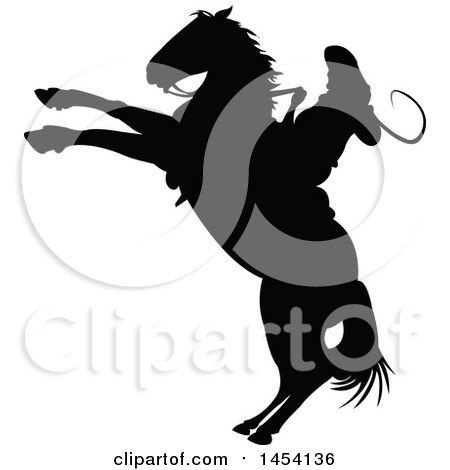 Black Silhouetted Horseback Rodeo Cowboy on a Bucking Bronco Posters, Art Prints