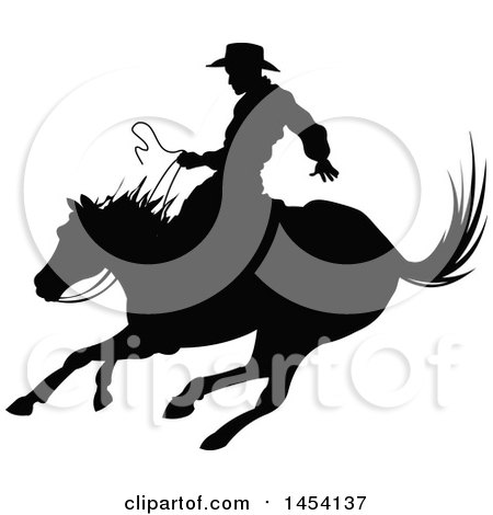 Clipart Graphic of a Black Silhouetted Horseback Rodeo Cowboy on a Bronco - Royalty Free Vector Illustration by Pushkin