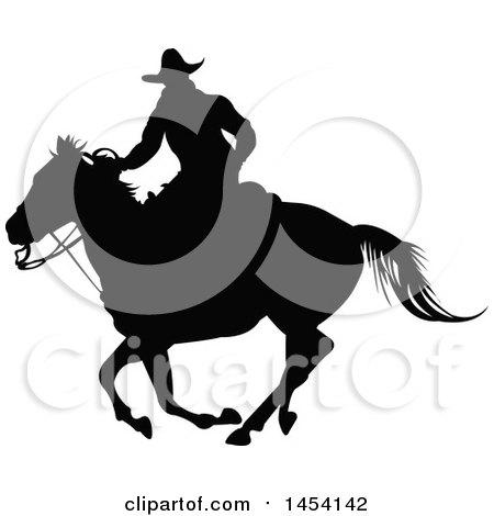 Black Silhouetted Horseback Cowboy Posters, Art Prints