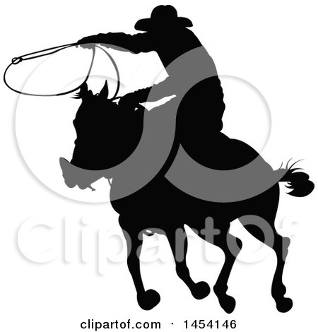 Black Silhouetted Horseback Rancher Cowboy Swinging a Lasso Posters, Art Prints