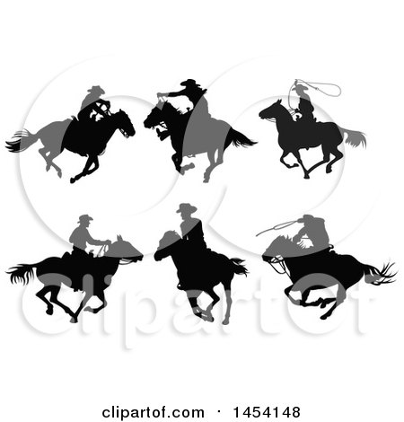 Black Silhouetted Horseback Cowboys Posters, Art Prints