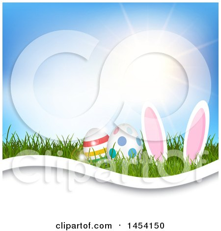 Clipart Graphic of a Sunny Sky over Grass with Easter Bunny Ears and Eggs - Royalty Free Vector Illustration by KJ Pargeter