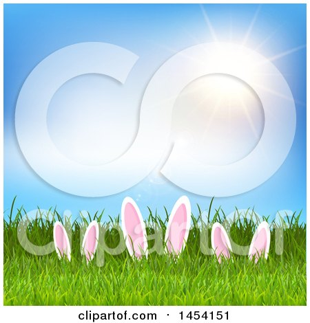 Clipart Graphic of a Sunny Sky over Grass with Easter Bunny Ears - Royalty Free Vector Illustration by KJ Pargeter
