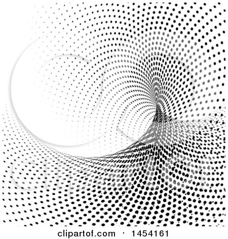 Clipart Graphic of a Background of a Black and White Halftone Dot Tunnel - Royalty Free Vector Illustration by KJ Pargeter