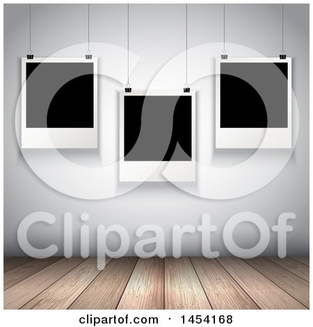 Clipart Graphic of a Wooden Floor and Hanging Blank Photos in a Room - Royalty Free Vector Illustration by KJ Pargeter