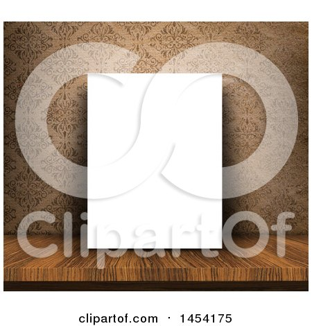 Clipart Graphic of a 3d Blank Canvas on a Wood Table, Leaning Against a Vintage Damask Wallpaper - Royalty Free Illustration by KJ Pargeter