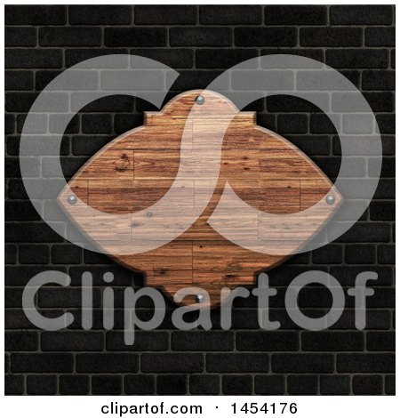 Clipart Graphic of a 3d Blank Wooden Plaque on a Dark Brick Wall - Royalty Free Illustration by KJ Pargeter