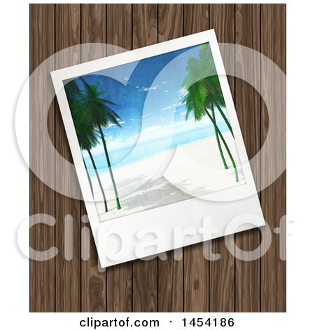 Clipart Graphic of a Tropical Beach Picture over Wood - Royalty Free Illustration by KJ Pargeter