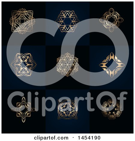 Clipart Graphic of Fancy and Ornate Golden Design Elements on Dark Blue and Black Tiles - Royalty Free Vector Illustration by KJ Pargeter
