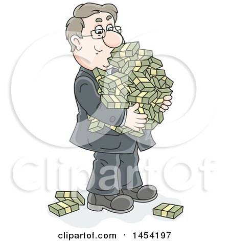 Clipart Graphic of a Cartoon Rich White Business Man Carrying Bundles of Cash - Royalty Free Vector Illustration by Alex Bannykh
