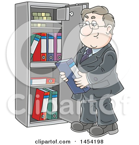 Clipart Graphic Of A Cartoon White Business Man Selecting A Book From A Safe Vault Royalty Free Vector Illustration
