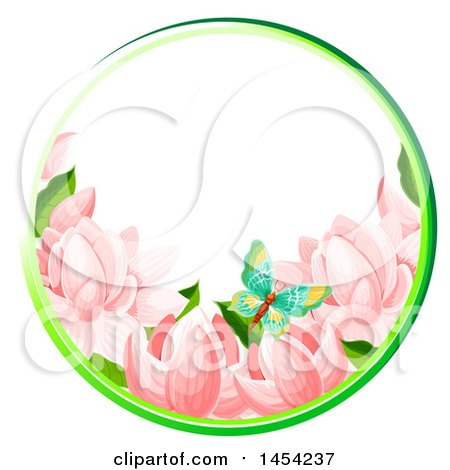 Clipart Graphic of a Circular Frame of Spring Flowers and a Butterfly - Royalty Free Vector Illustration by Vector Tradition SM