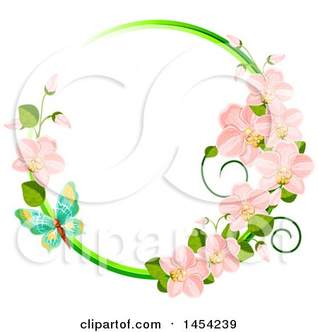Clipart Graphic of a Circular Frame of Spring Orchid Flowers and a Butterfly - Royalty Free Vector Illustration by Vector Tradition SM