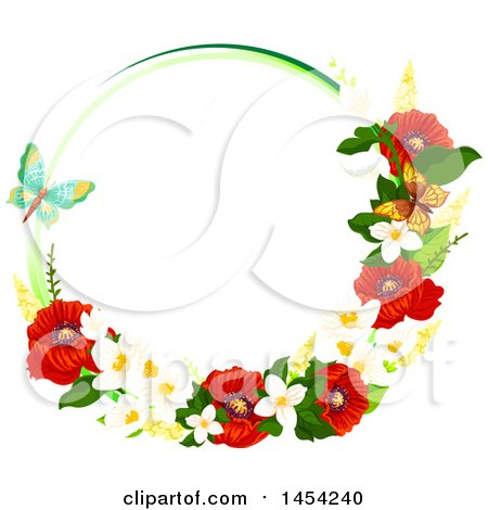 Clipart Graphic of a Circular Frame of Beautiful Red Poppies and Other Spring Flowers with Butterflies - Royalty Free Vector Illustration by Vector Tradition SM