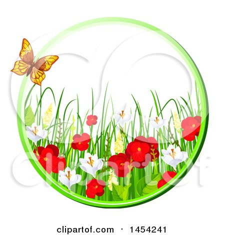 Clipart Graphic of a Circular Frame of Beautiful Red Poppies and Other Spring Flowers with a Butterfly - Royalty Free Vector Illustration by Vector Tradition SM
