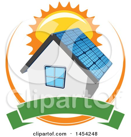 Clipart Graphic of a House with a Solar Panel Roof, Sun and Blank Banner - Royalty Free Vector Illustration by Vector Tradition SM