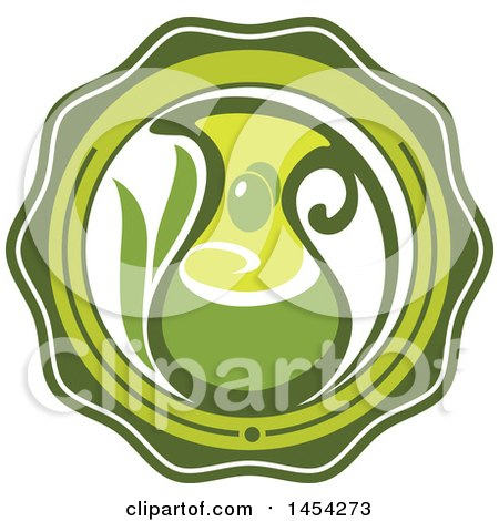 Clipart Graphic of a Green Olives and Oil Design - Royalty Free Vector Illustration by Vector Tradition SM
