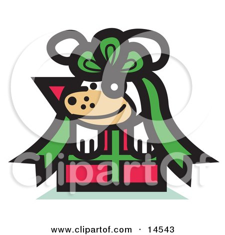 Cute Dog Tied up in a Bow on a Christmas Present Clipart Illustration by Andy Nortnik