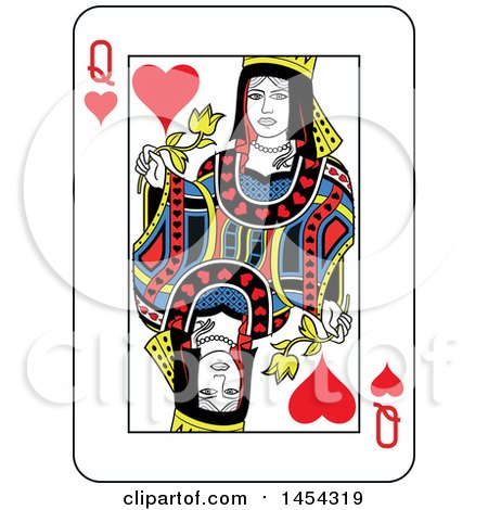 Clipart Graphic of a French Styled Queen of Hearts Playing Card Design - Royalty Free Vector Illustration by Frisko