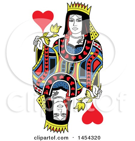 Clipart Graphic of a French Styled Queen of Hearts Design - Royalty Free Vector Illustration by Frisko