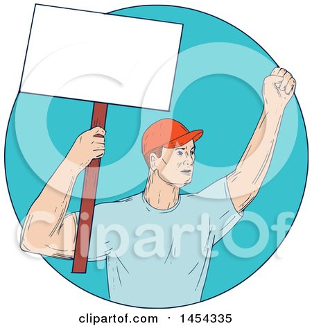 Clipart Graphic of a Sketched Drawing of a Male Protester Union Worker Activist Holding up a Blank Sign in a Blue Circle - Royalty Free Vector Illustration by patrimonio